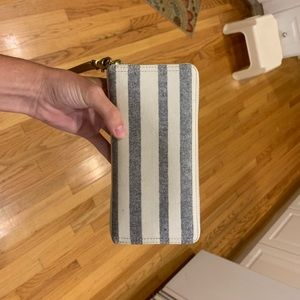 Blue & white stripped Fossil wallet